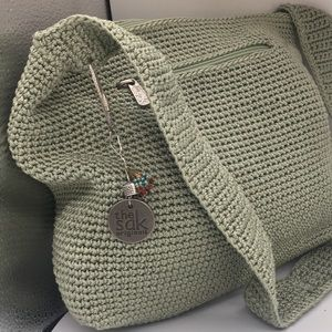 SAK green crochet crossbody purse